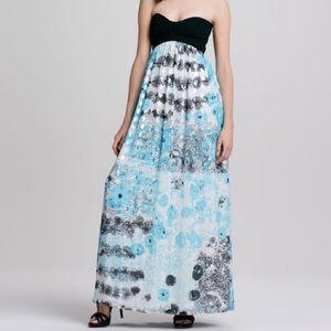DVF Asti Silver Met Dot silk chiffon maxi dress